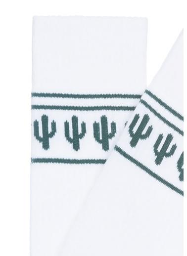 Mavi Kaktüs Baskılı Spor Çorap Beyaz